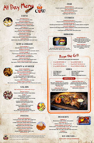 The Sexy Cow All Day Menu